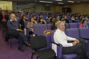 Dr. Antounian, left, and Dr. Koumjian, lower right, along with other health professionals in the audience, listening to Dr. Ramos-Gomez