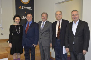 From left to right, AUA SPH Dean Varduhi Petrosyan, Dr. Francisco Ramos-Gomez, Dr. Jack Koumjian, Dr. Francois Antounian, and AUA Vice President of Operations Mr. Ashot Ghazaryan
